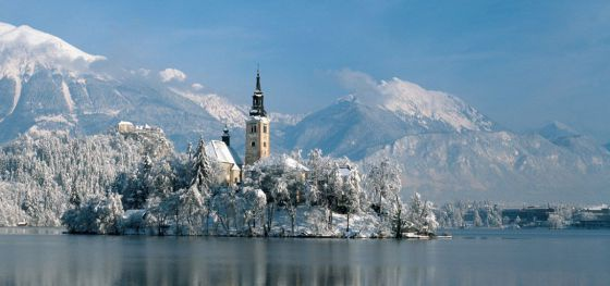 Insel im Bled-See im Winter